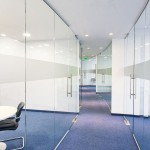 Glass office partition walls.