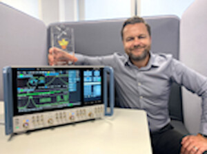 sml.Jamie Lunn and the R&S ZNA winners of the Electronics Industry Awards, Test, Measurement and Inspection Product of the year category 2020